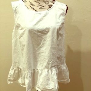 J crew white cotton peplum tank XL